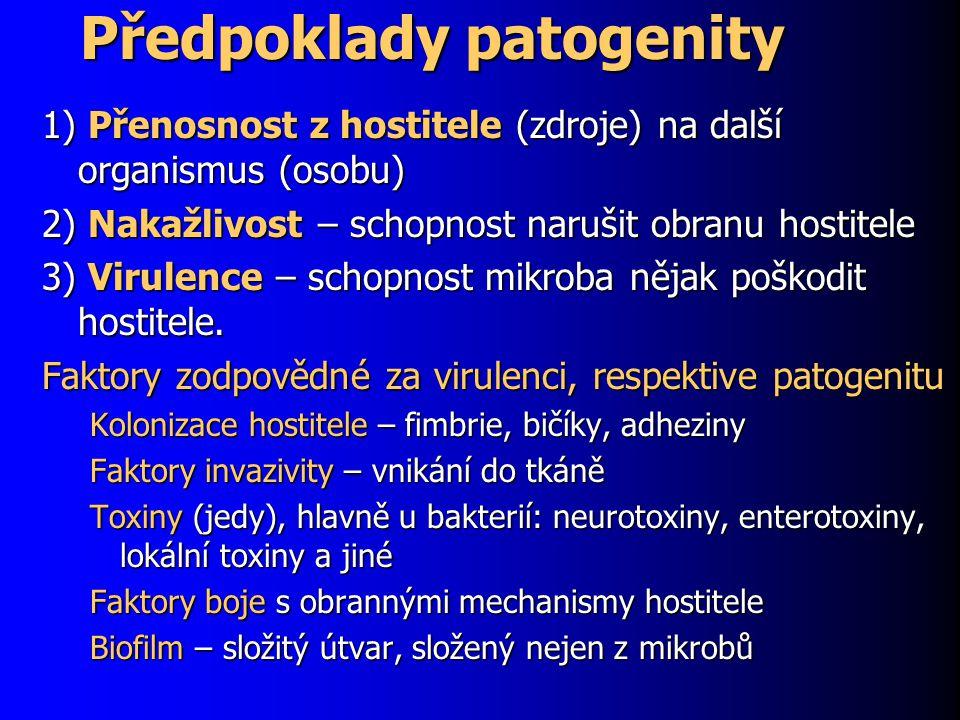 Předpoklady patogenity 1) Přenosnost z hostitele (zdroje) na další organismus (osobu) 2) Nakažlivost – schopnost narušit obranu hostitele 3) Virulence – schopnost mikroba nějak poškodit hostitele.