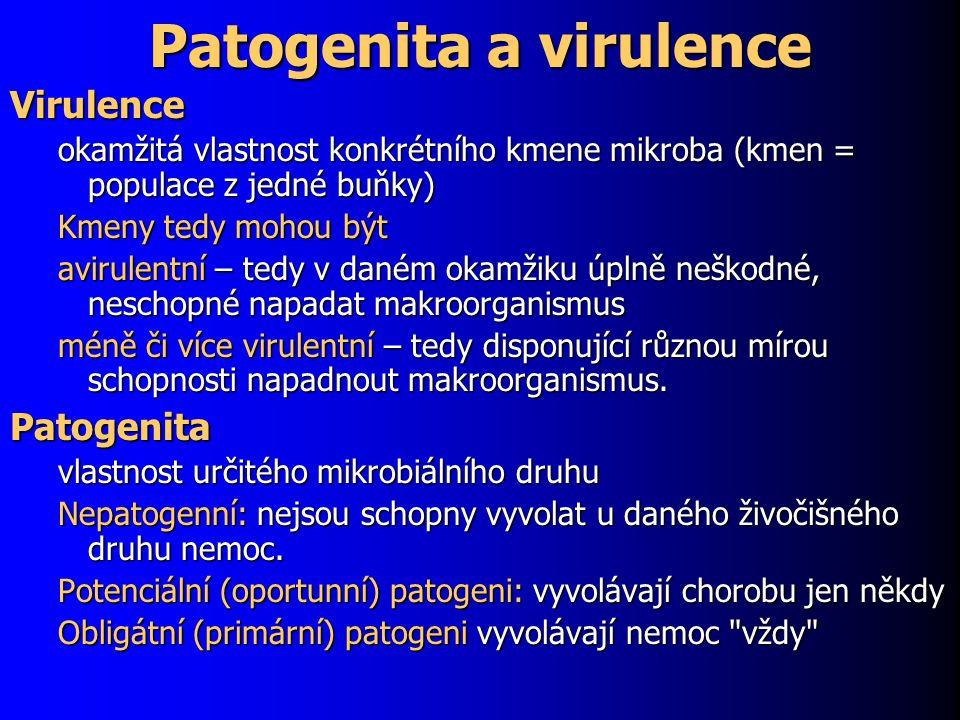 Patogenita a virulence Virulence okamžitá vlastnost konkrétního kmene mikroba (kmen = populace z jedné buňky) Kmeny tedy mohou být avirulentní – tedy v daném okamžiku úplně neškodné, neschopné napadat makroorganismus méně či více virulentní – tedy disponující různou mírou schopnosti napadnout makroorganismus.