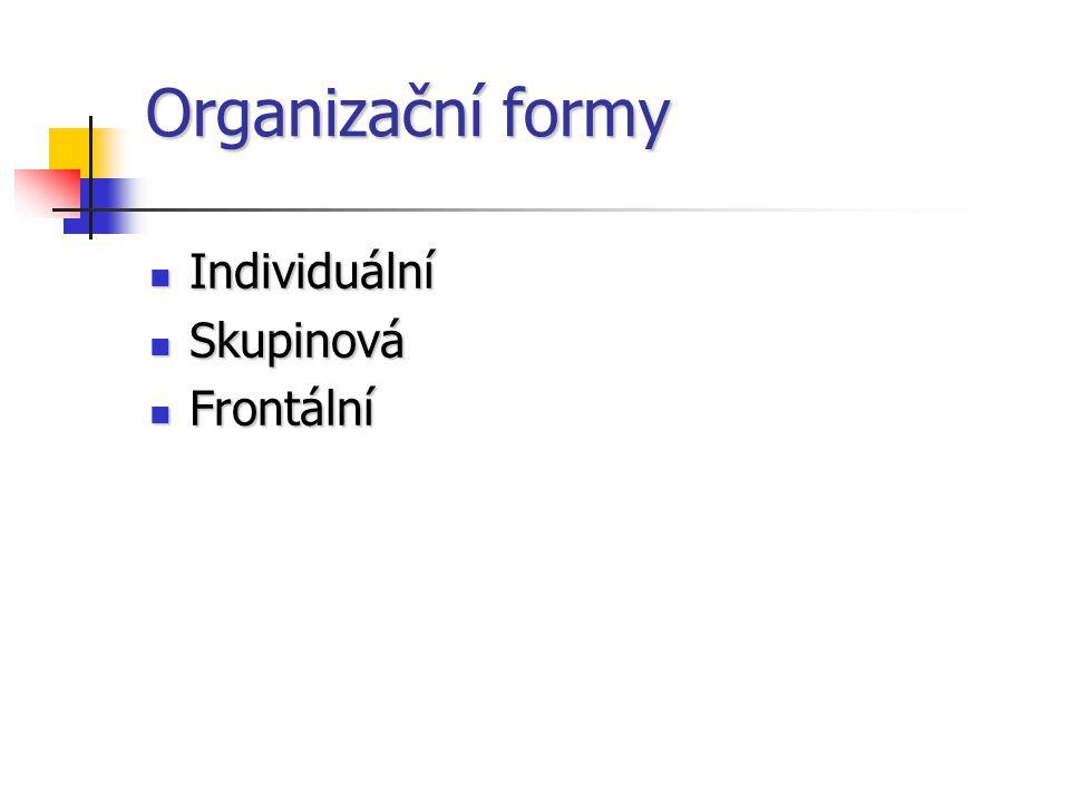 Organizační formy Individuální Individuální Skupinová Skupinová Frontální Frontální