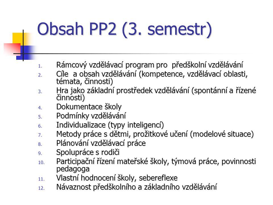 Obsah PP2 (3. semestr) 1. Rámcový vzdělávací program pro předškolní vzdělávání 2. Cíle a obsah vzdělávání (kompetence, vzdělávací oblasti, témata, čin