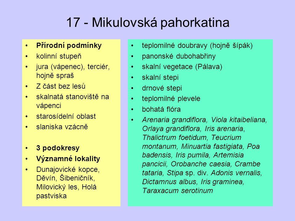 17 - Mikulovská pahorkatina Přírodní podmínky kolinní stupeň jura (vápenec), terciér, hojně spraš Z část bez lesů skalnatá stanoviště na vápenci staro