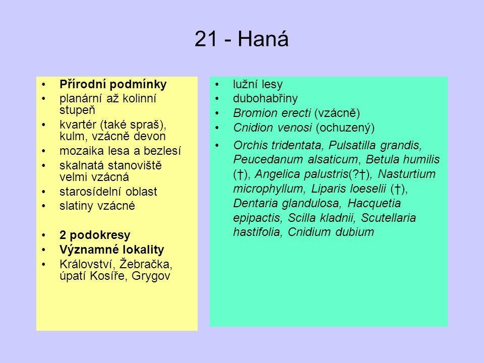 21 - Haná Přírodní podmínky planární až kolinní stupeň kvartér (také spraš), kulm, vzácně devon mozaika lesa a bezlesí skalnatá stanoviště velmi vzácn