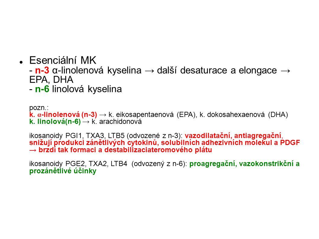 Esenciální MK - n-3 α-linolenová kyselina → další desaturace a elongace → EPA, DHA - n-6 linolová kyselina pozn.: k.
