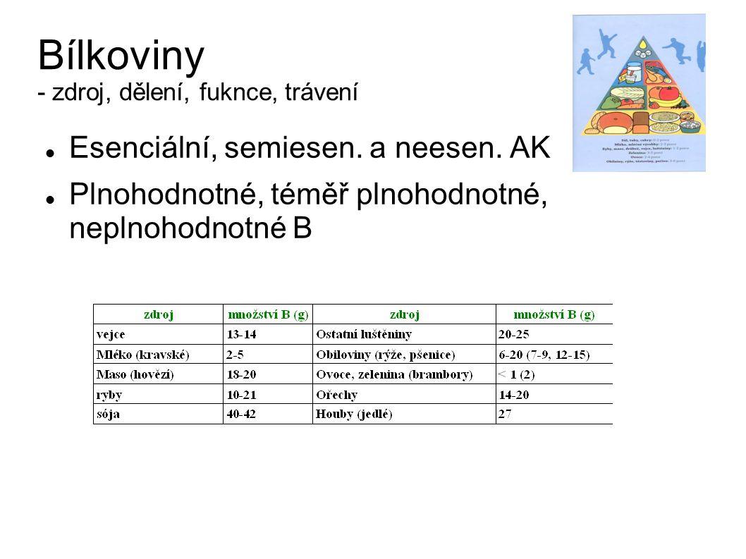 BÍLKOVINY řetězce z aminokyselin AK - esenciální (leucin, isoleucin, valin, lysin, methionin, fenylalanin, tryptofan, threonin) - semiesenciální (histidin,...alanin, glutamin) - neesenciální Zdroje bílkovin (živočišné: maso, mléko, vejce, rostlinné: obiloviny, luštěniny,...) Hodnotnost bílkovin - plnohodnotné: obsahují všechny esenciální AK (např.
