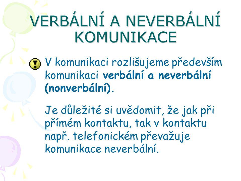 VERBÁLNÍ A NEVERBÁLNÍ KOMUNIKACE V komunikaci rozlišujeme především komunikaci verbální a neverbální (nonverbální). Je důležité si uvědomit, že jak př