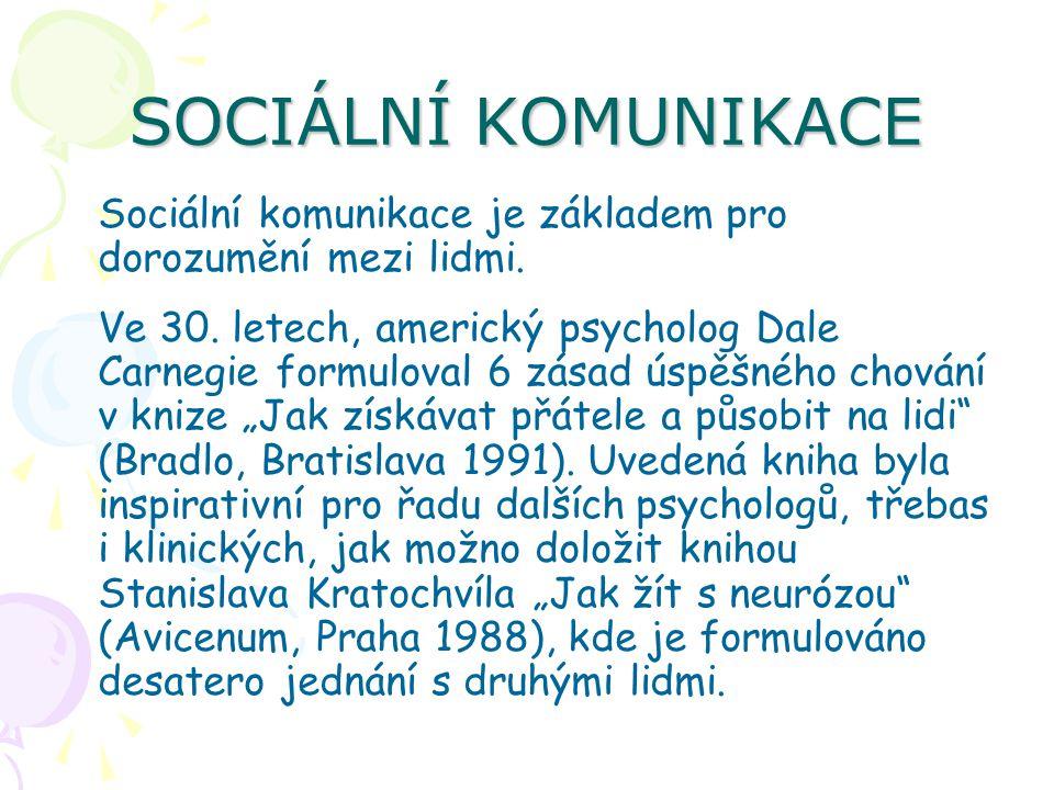 SOCIÁLNÍ KOMUNIKACE Sociální komunikace je základem pro dorozumění mezi lidmi. Ve 30. letech, americký psycholog Dale Carnegie formuloval 6 zásad úspě
