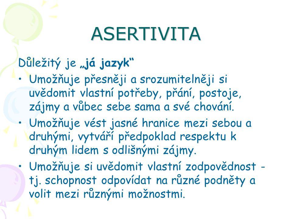 """ASERTIVITA Důležitý je """"já jazyk"""" Umožňuje přesněji a srozumitelněji si uvědomit vlastní potřeby, přání, postoje, zájmy a vůbec sebe sama a své chován"""