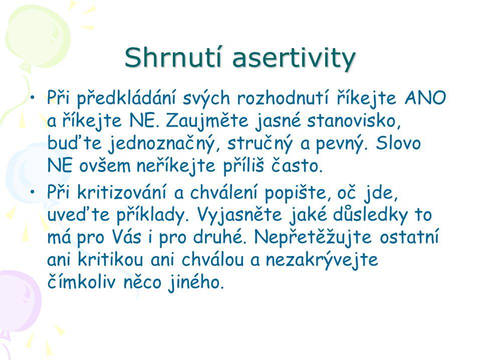 Shrnutí asertivity Při předkládání svých rozhodnutí říkejte ANO a říkejte NE. Zaujměte jasné stanovisko, buďte jednoznačný, stručný a pevný. Slovo NE