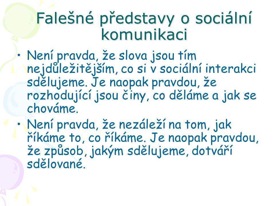 Falešné představy o sociální komunikaci Není pravda, že slova jsou tím nejdůležitějším, co si v sociální interakci sdělujeme. Je naopak pravdou, že ro