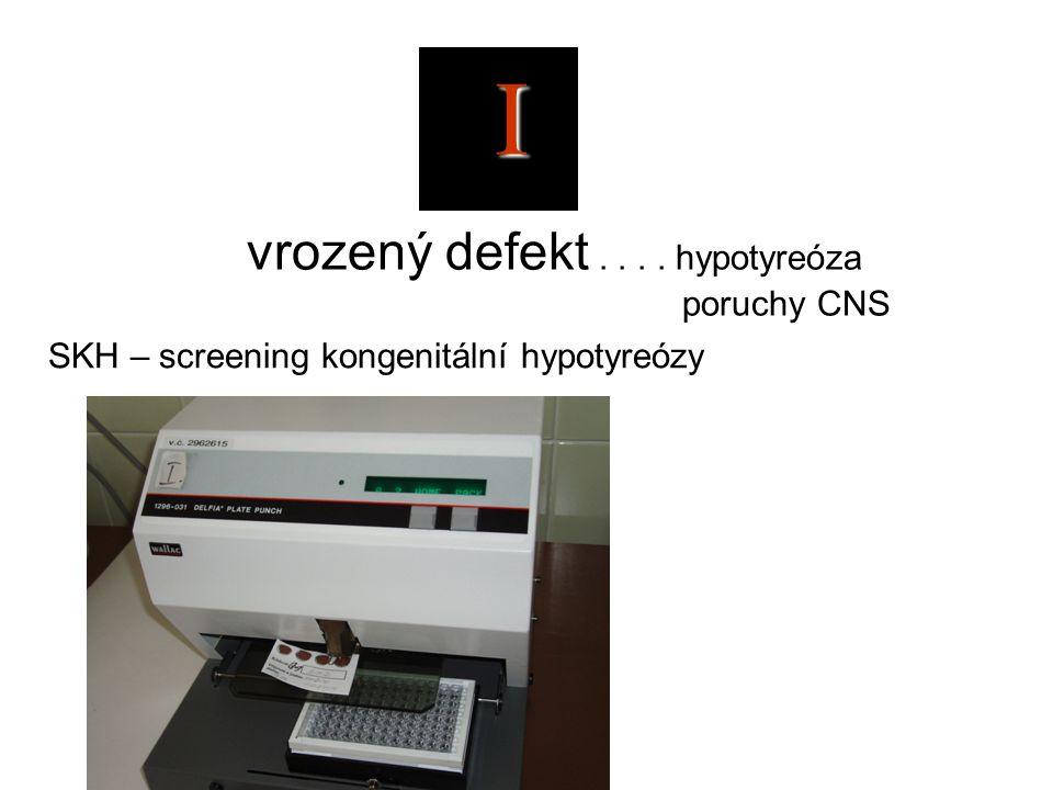 I vrozený defekt.... hypotyreóza poruchy CNS SKH – screening kongenitální hypotyreózy