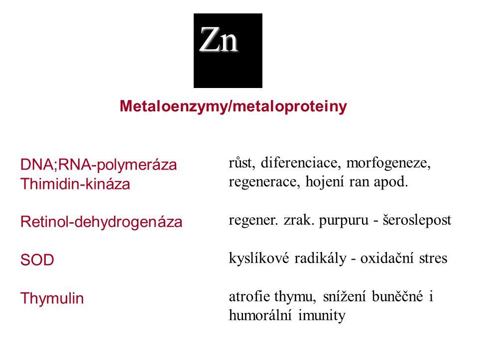 Zn DNA;RNA-polymeráza Thimidin-kináza Retinol-dehydrogenáza SOD Thymulin růst, diferenciace, morfogeneze, regenerace, hojení ran apod. regener. zrak.