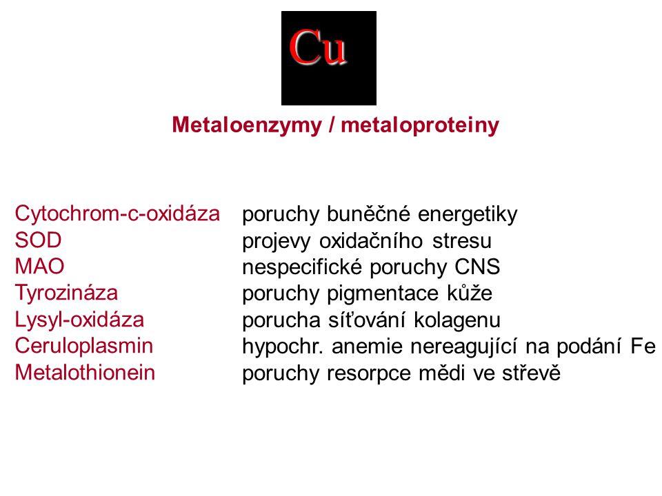 Cu Cytochrom-c-oxidáza SOD MAO Tyrozináza Lysyl-oxidáza Ceruloplasmin Metalothionein Metaloenzymy / metaloproteiny poruchy buněčné energetiky projevy oxidačního stresu nespecifické poruchy CNS poruchy pigmentace kůže porucha síťování kolagenu hypochr.