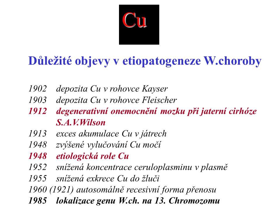 Cu Důležité objevy v etiopatogeneze W.choroby 1902 depozita Cu v rohovce Kayser 1903 depozita Cu v rohovce Fleischer 1912 degenerativní onemocnění mozku při jaterní cirhóze S.A.V.Wilson 1913 exces akumulace Cu v játrech 1948 zvýšené vylučování Cu močí 1948 etiologická role Cu 1952 snížená koncentrace ceruloplasminu v plasmě 1955 snížená exkrece Cu do žluči 1960 (1921) autosomálně recesivní forma přenosu 1985 lokalizace genu W.ch.