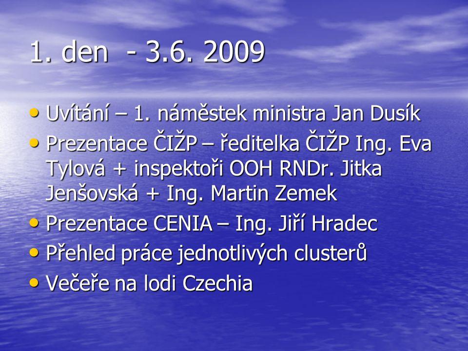 1. den - 3.6. 2009 Uvítání – 1. náměstek ministra Jan Dusík Uvítání – 1. náměstek ministra Jan Dusík Prezentace ČIŽP – ředitelka ČIŽP Ing. Eva Tylová