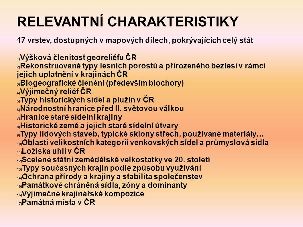 RELEVANTNÍ CHARAKTERISTIKY 17 vrstev, dostupných v mapových dílech, pokrývajících celý stát 1) Výšková členitost georeliéfu ČR 2) Rekonstruované typy