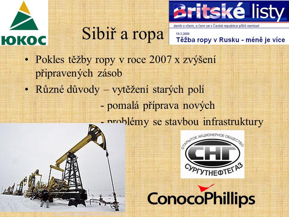 Sibiř a ropa Pokles těžby ropy v roce 2007 x zvýšení připravených zásob Různé důvody – vytěžení starých polí - pomalá příprava nových - problémy se stavbou infrastruktury http://www.kommersant.ru/doc.aspx DocsID=867843