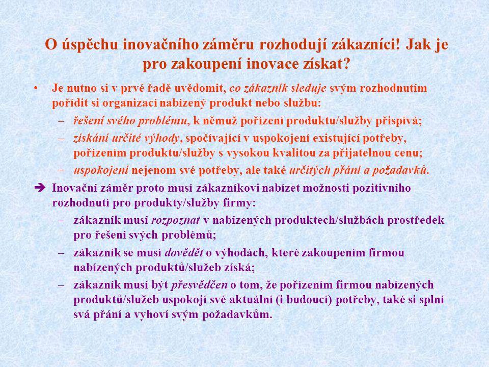 2.2. Zjišťování potřeb a přání zákazníků, odhad jejich reakce na inovaci  Zajistit vysokou pravděpodobnost úspěchu inovace vyžaduje dobře pochopit, j