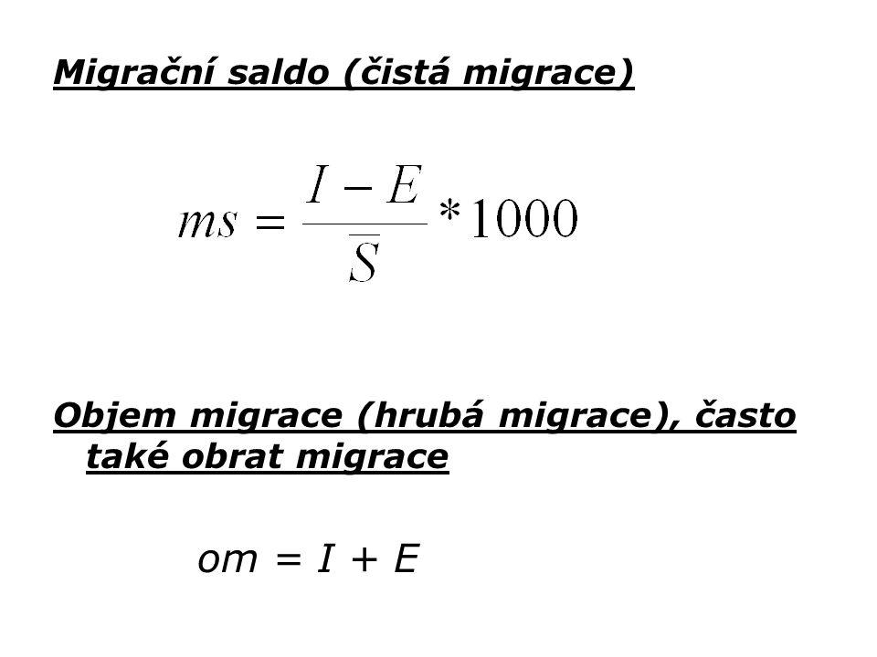 Migrační saldo (čistá migrace) Objem migrace (hrubá migrace), často také obrat migrace om = I + E