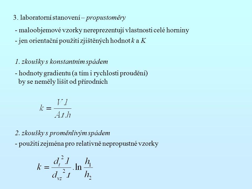 3. laboratorní stanovení – propustoměry - maloobjemové vzorky nereprezentují vlastnosti celé horniny - jen orientační použití zjištěných hodnot k a K
