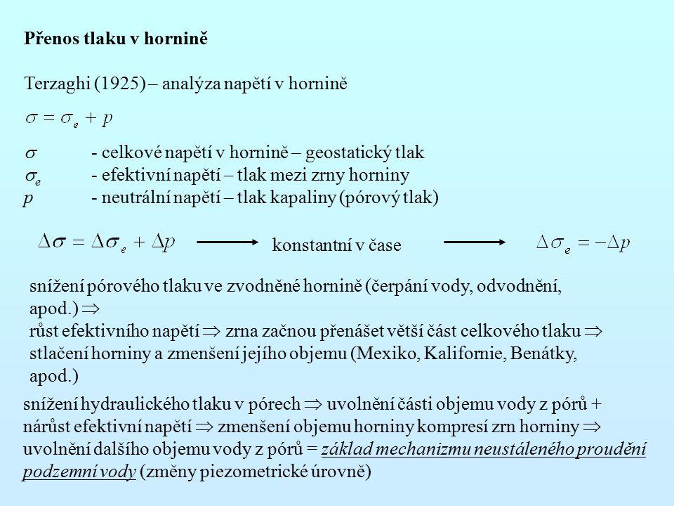 Přenos tlaku v hornině Terzaghi (1925) – analýza napětí v hornině  - celkové napětí v hornině – geostatický tlak  e - efektivní napětí – tlak mezi z