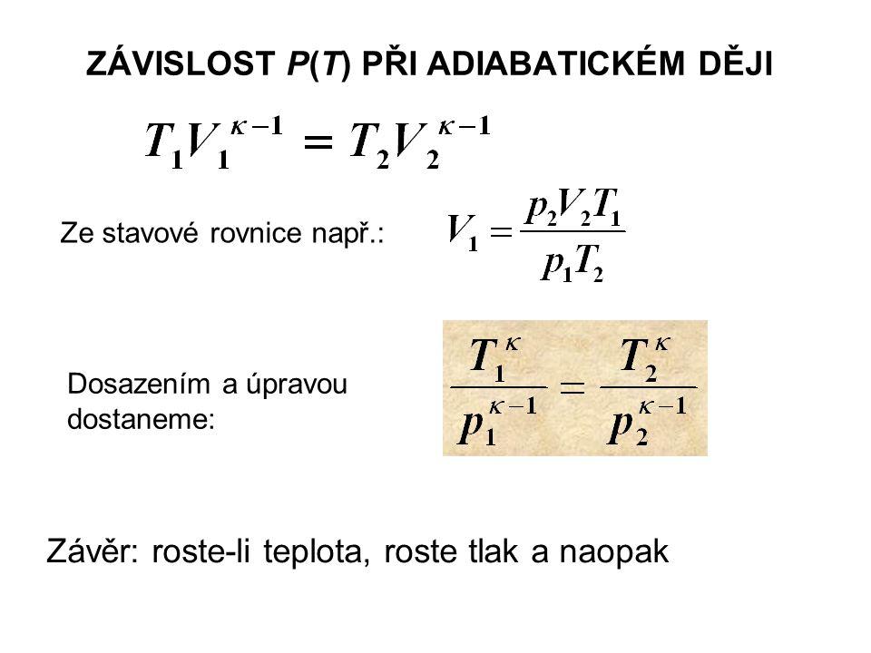 ZÁVISLOST P(T) PŘI ADIABATICKÉM DĚJI Ze stavové rovnice např.: Dosazením a úpravou dostaneme: Závěr: roste-li teplota, roste tlak a naopak