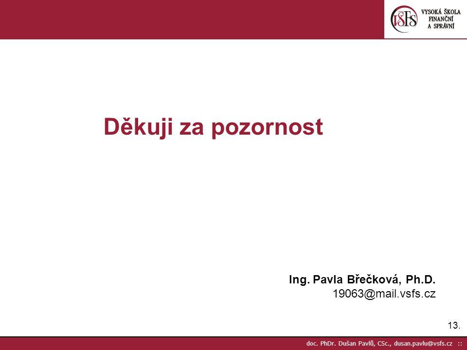13. doc. PhDr. Dušan Pavlů, CSc., dusan.pavlu@vsfs.cz :: Děkuji za pozornost Ing. Pavla Břečková, Ph.D. 19063@mail.vsfs.cz