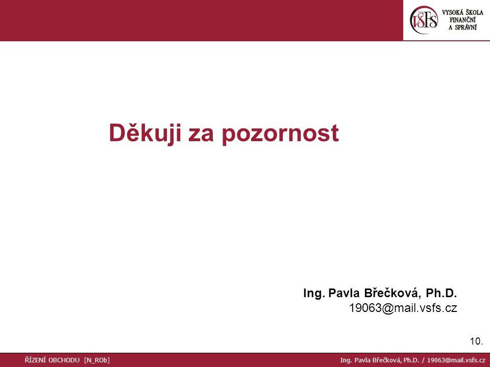 10. Děkuji za pozornost Ing. Pavla Břečková, Ph.D.