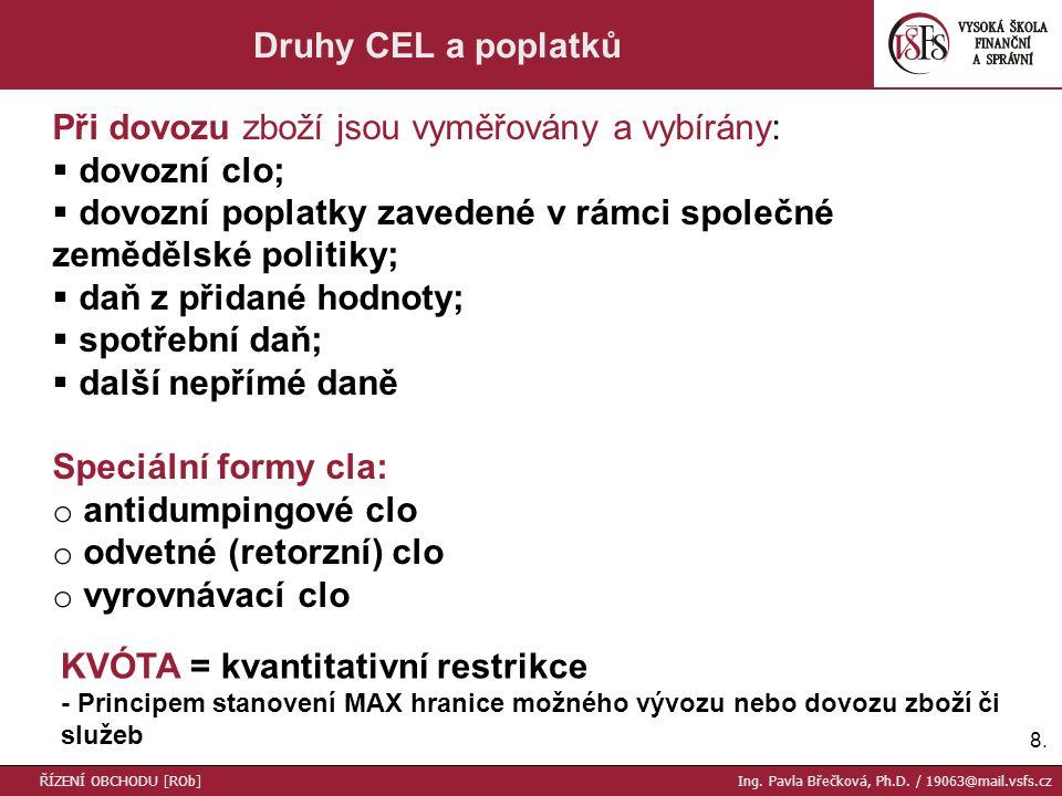8.8. Druhy CEL a poplatků Při dovozu zboží jsou vyměřovány a vybírány:  dovozní clo;  dovozní poplatky zavedené v rámci společné zemědělské politiky