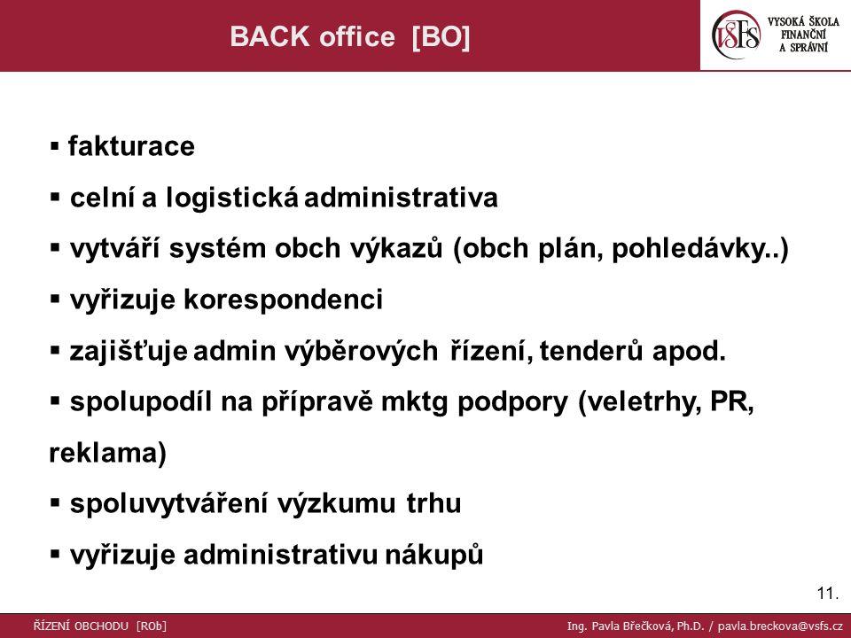 11. BACK office [BO]  fakturace  celní a logistická administrativa  vytváří systém obch výkazů (obch plán, pohledávky..)  vyřizuje korespondenci 