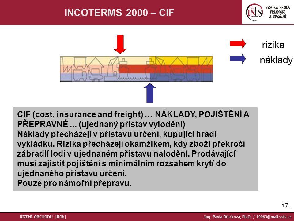 17. INCOTERMS 2000 – CIF CIF (cost, insurance and freight) … NÁKLADY, POJIŠTĚNÍ A PŘEPRAVNÉ...