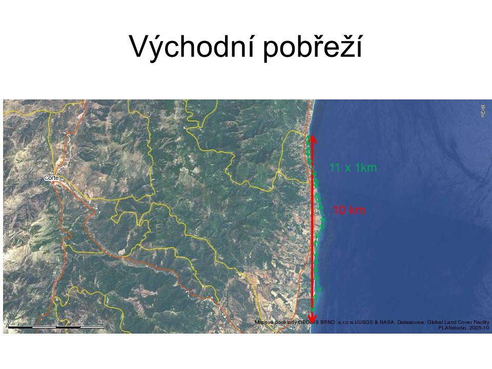 Východní pobřeží Délka pobřeží k.n(k) lim k→0 k.n(k) = D