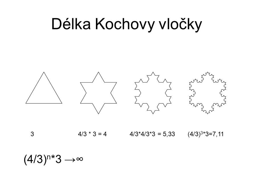 Délka Kochovy vločky 3 4/3 * 3 = 4 4/3*4/3*3 = 5,33 (4/3) 3 *3=7,11 (4/3) n *3 →∞