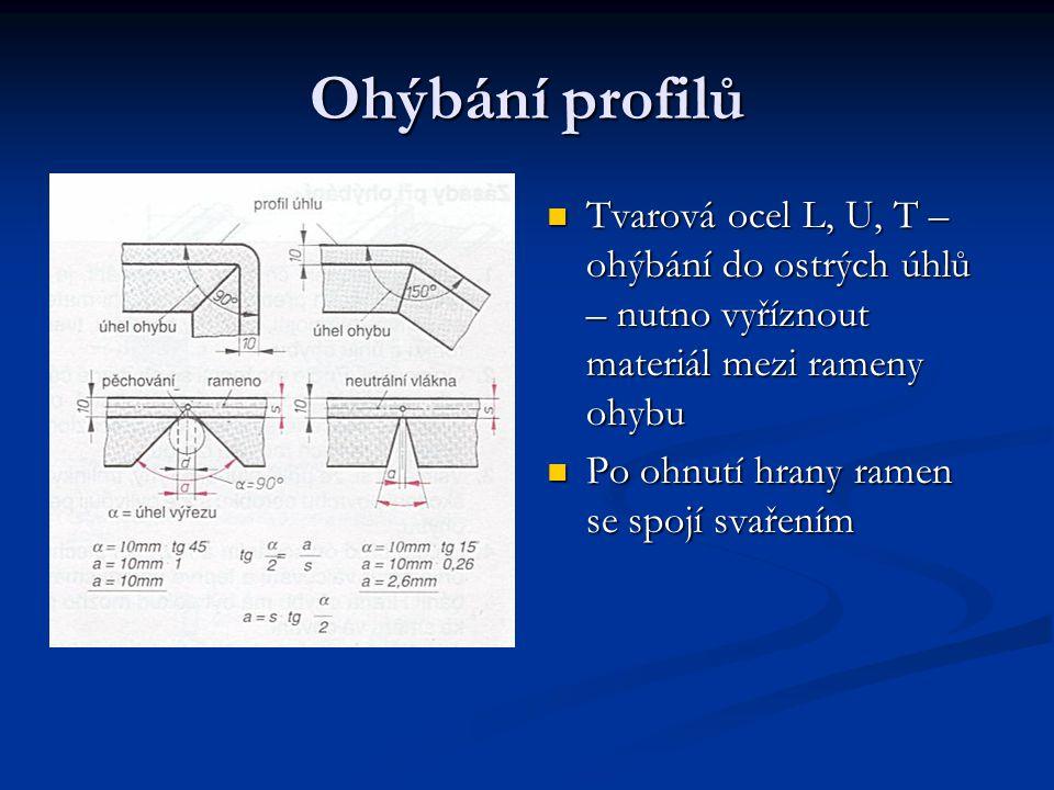 Ohýbání profilů Tvarová ocel L, U, T – ohýbání do ostrých úhlů – nutno vyříznout materiál mezi rameny ohybu Po ohnutí hrany ramen se spojí svařením