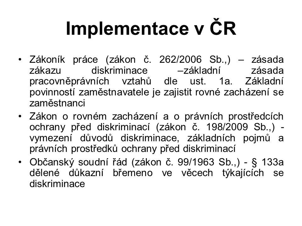 Implementace v ČR Zákoník práce (zákon č.