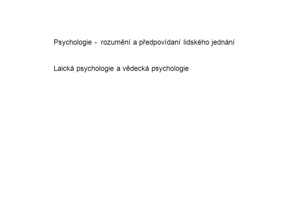 Psychologie - rozumění a předpovídaní lidského jednání Laická psychologie a vědecká psychologie