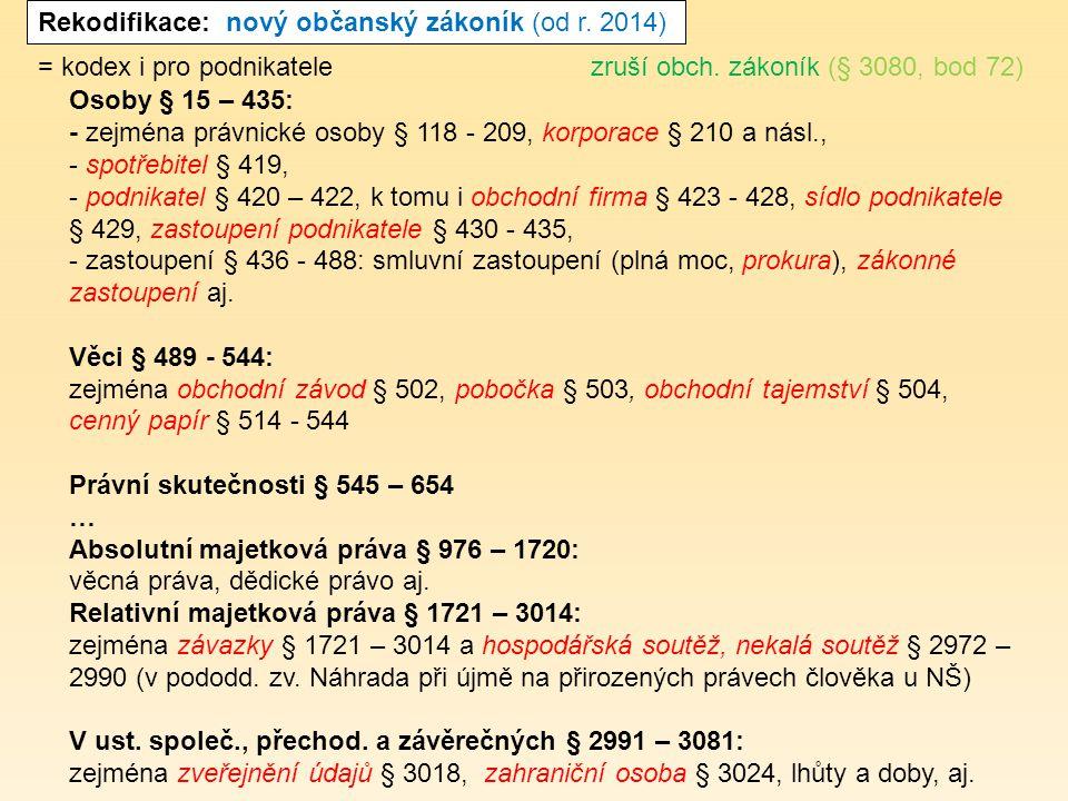 Rekodifikace: nový občanský zákoník (od r.