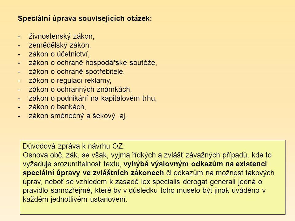 Důvodová zpráva k návrhu OZ: Osnova obč. zák.