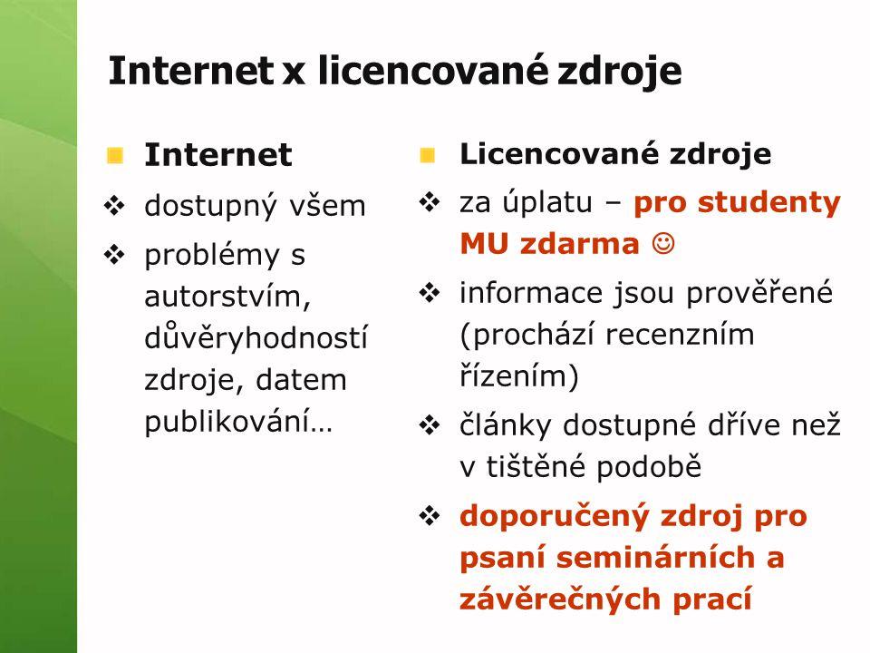 Internet x licencované zdroje Licencované zdroje  za úplatu – pro studenty MU zdarma  informace jsou prověřené (prochází recenzním řízením)  články dostupné dříve než v tištěné podobě  doporučený zdroj pro psaní seminárních a závěrečných prací Internet  dostupný všem  problémy s autorstvím, důvěryhodností zdroje, datem publikování…