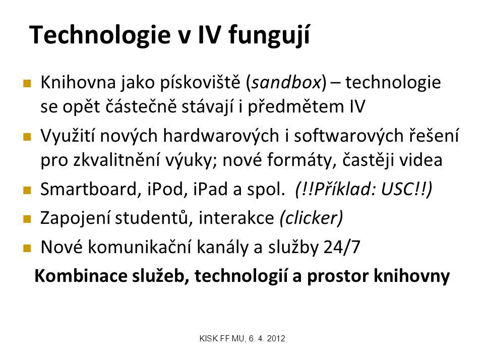 Technologie v IV fungují Knihovna jako pískoviště (sandbox) – technologie se opět částečně stávají i předmětem IV Využití nových hardwarových i softwarových řešení pro zkvalitnění výuky; nové formáty, častěji videa Smartboard, iPod, iPad a spol.