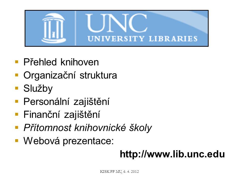  Přehled knihoven  Organizační struktura  Služby  Personální zajištění  Finanční zajištění  Přítomnost knihovnické školy  Webová prezentace: http://www.lib.unc.edu KISK FF MU, 6.