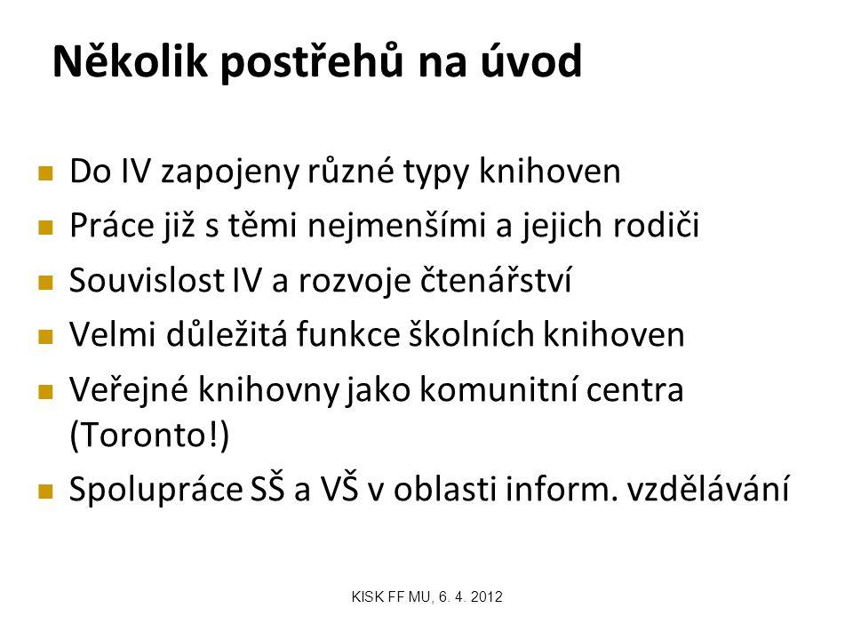 Několik postřehů na úvod KISK FF MU, 6. 4.