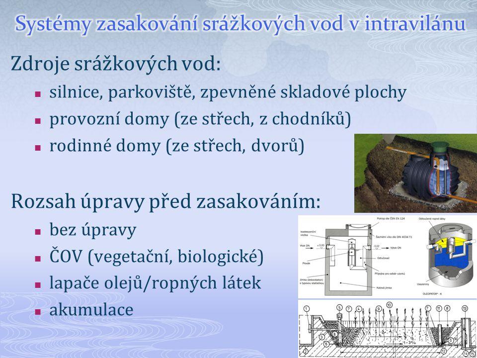 Zdroje srážkových vod: silnice, parkoviště, zpevněné skladové plochy provozní domy (ze střech, z chodníků) rodinné domy (ze střech, dvorů) Rozsah úpra