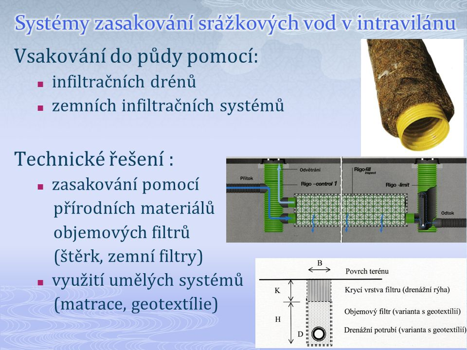 Vsakování do půdy pomocí: infiltračních drénů zemních infiltračních systémů Technické řešení : zasakování pomocí přírodních materiálů objemových filtr