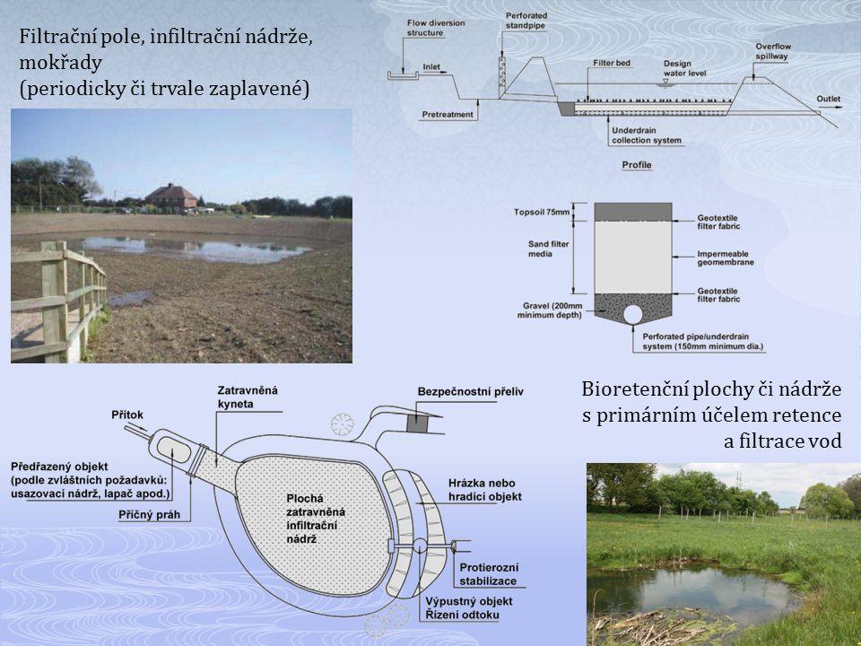 Filtrační pole, infiltrační nádrže, mokřady (periodicky či trvale zaplavené) Bioretenční plochy či nádrže s primárním účelem retence a filtrace vod