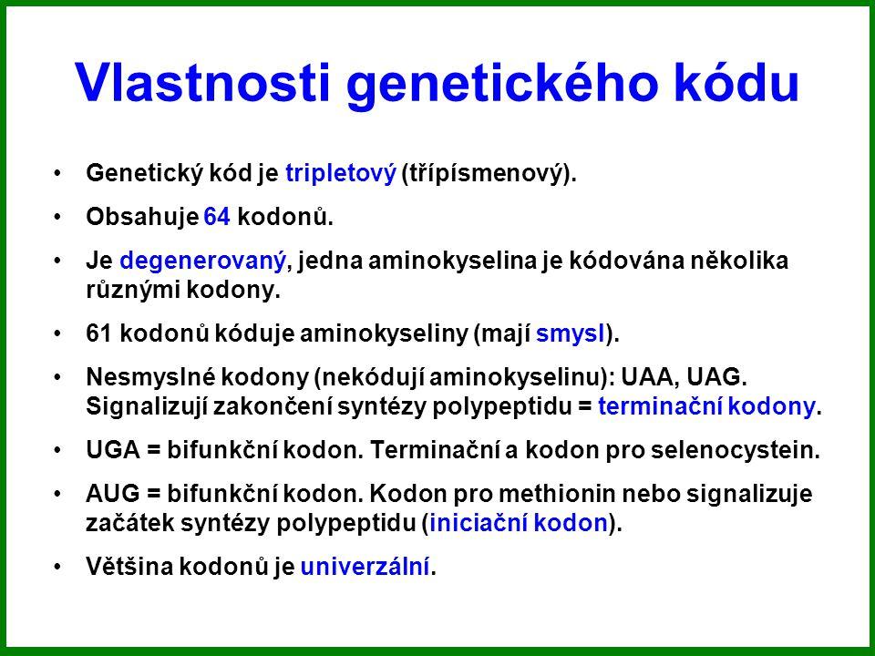 Vlastnosti genetického kódu Genetický kód je tripletový (třípísmenový).