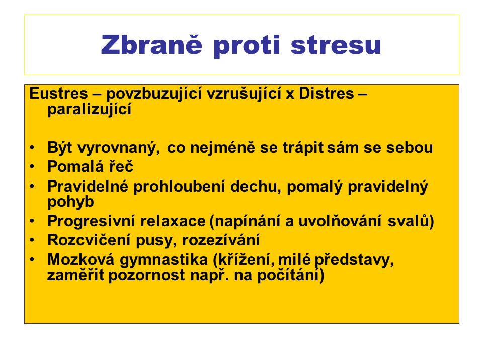 Zbraně proti stresu Eustres – povzbuzující vzrušující x Distres – paralizující Být vyrovnaný, co nejméně se trápit sám se sebou Pomalá řeč Pravidelné