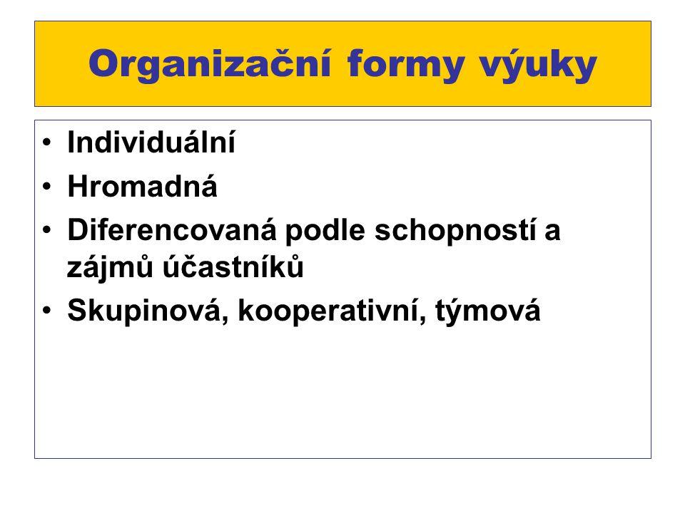 Organizační formy výuky Individuální Hromadná Diferencovaná podle schopností a zájmů účastníků Skupinová, kooperativní, týmová