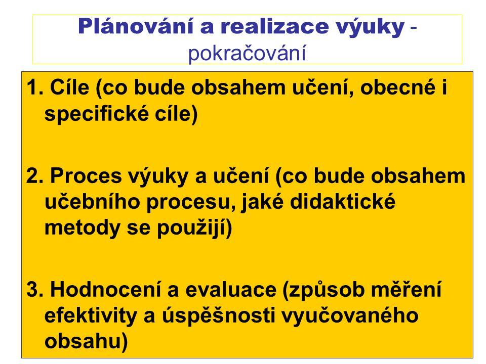 Plánování a realizace výuky - pokračování 1. Cíle (co bude obsahem učení, obecné i specifické cíle) 2. Proces výuky a učení (co bude obsahem učebního