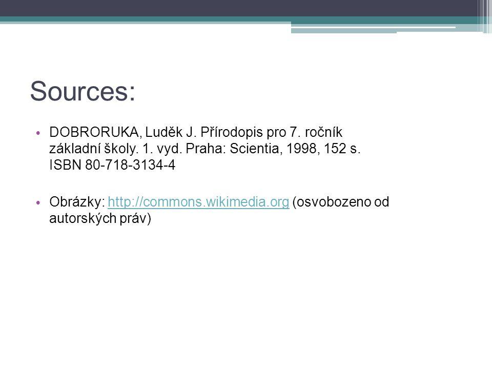 Sources: DOBRORUKA, Luděk J. Přírodopis pro 7. ročník základní školy.