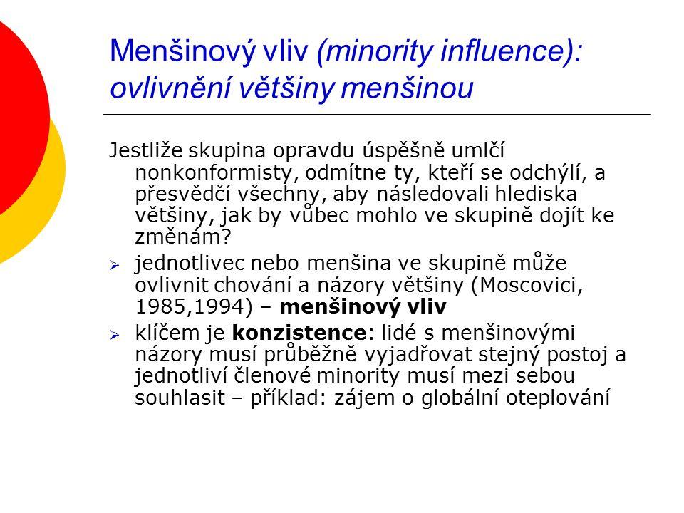Menšinový vliv (minority influence): ovlivnění většiny menšinou Jestliže skupina opravdu úspěšně umlčí nonkonformisty, odmítne ty, kteří se odchýlí, a